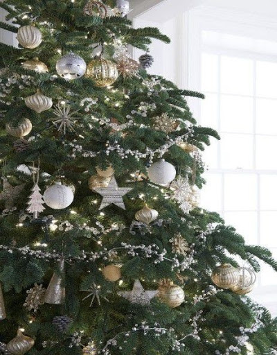 christmas tree ornaments and white wall