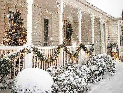 snowy front porch holidays