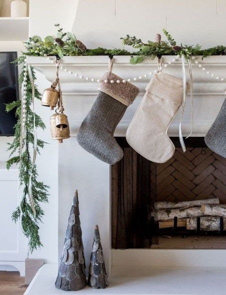 stockings on white fireplace